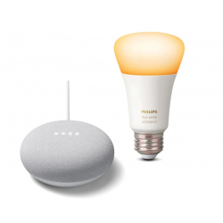 Chollo - Altavoz inteligente Google Nest Mini + Bombilla inteligente Philips Hue E27