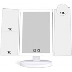 Chollo - Alvorog Espejo de maquillaje con luz 1x/2x/3x/10x