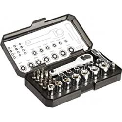 Chollo - Amazon Basics Juego llave de trinquete y puntas 28 piezas