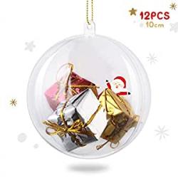 Chollo - Pack de 12 Bolas de Navidad Transparentes Amzdeal (10cm)