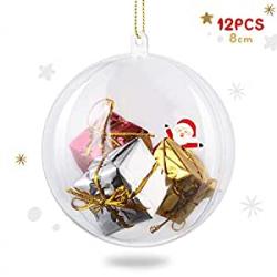 Chollo - Pack de 12 Bolas de Navidad Transparentes Amzdeal (8cm)