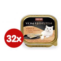 Chollo - animonda Vom Feinsten Adult Pollo, Salmón y Espinacas Comida húmeda para gatos Megapack 32x 100g