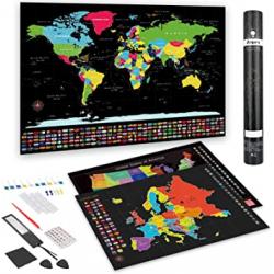 Chollo - Anpro Mapas para rascar Mapamundi + Europa + Estados Unidos + Accesorios 46pcs