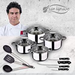 Chollo - Batería de cocina 8 piezas San Ignacio Premium Dina + 4 cuchillos San Ignacio Toledo + 3 utensilios San Ignacio Vita