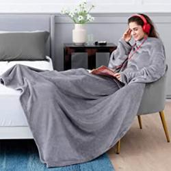 Chollo - Bedsure Batamanta Polar con Mangas y Bolsillo Hombre para Pies de TV,Blanket Hoodie Suave y Acogedor,Gris,170x200cm