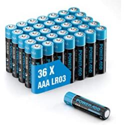 Chollo - Blíster 36 pilas alcalinas AAA LR03 Poweradd 1.5V