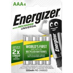 Blíster 4 Pilas recargables Energizer AAA Accu Recharge Universal 500 mAh