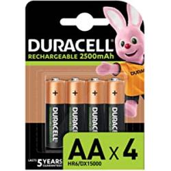 Chollo - Blíster 4 Pilas recargables Duracell  AA 2500 mAh