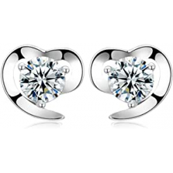 Chollo - BlueSnow Love Heart Cubic Zirconia Studs Pendientes | Fb-earring-0001-1