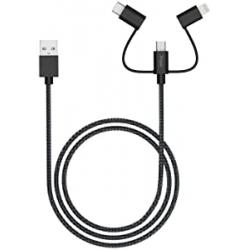 Chollo - Cable USB iHaper 3 en 1 (USB-C + Lightning + Micro USB)