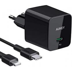 Chollo - Cargador de pared Aukey PA-Y18 USB-C 18W PD + Cable USB-C a Lightning MFi