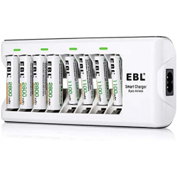 Chollo - Cargador de pilas inteligente EBL 808 + 8 Pilas recargables