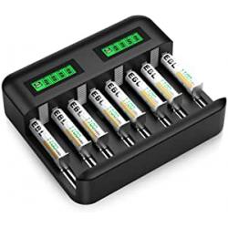 Chollo - EBL Cargador de pilas universal USB-C + 8 Pilas recargables AAA