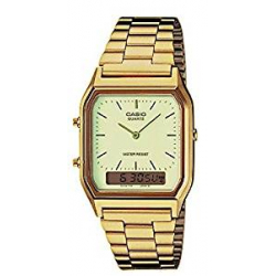 Casio Collection , Reloj Cuadrado, Unisex, Acero Inoxidable, color dorado