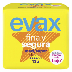 Chollo - Compresas Evax Fina y Segura Maxi Sin alas (13 unidades)