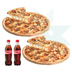 Chollo - Cupón Telepizza para 2 Pizzas Familiares + 2 Refrescos
