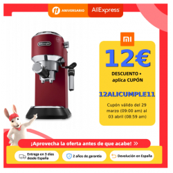 Chollo - Delonghi Cafetera Expreso Dedica EC685.R. Molido Y Monodosis. Espresso Y Cappuccino. Depósito 1,3 L. Antigoteo. Color Rojo