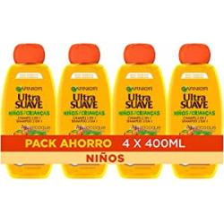 Chollo - Garnier Ultra Suave Champú 2 en 1 Albaricoque y Flor de Algodón Champú niños Pack 4x 400ml
