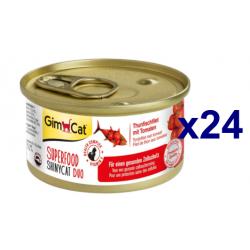 Chollo - GimCat Superfood ShinyCat Duo Atún con tomate Comida para gatos Pack 24x 70g