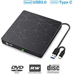 Chollo - Grabadora CD / Lector DVD Externo Sawake con USB 3.0 y USB-C