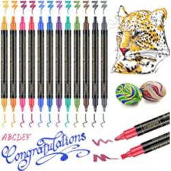 Chollo - GuangNa Calligraphy Metallic Colours Rotuladores de doble punta Pack 12 uds | Gikersy