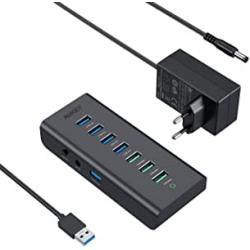 Chollo - Hub USB Alimentado Aukey con 4 Puertos USB 3.0 + 3 Puertos de Carga