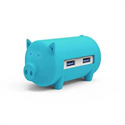 Chollo - Hub USB Orico H4018-U3 Cerdito Azul