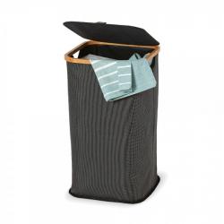 Chollo - Jobgar cesto alto de baño con tapa tela y bambú para ropa y multifuncional 58x33x33cm