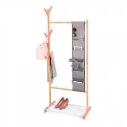 Chollo - Jobgar Mueble auxiliar bambú y tela con perchero, colgador de ropa, organizador y repisa para zapatos 167x65x38cm