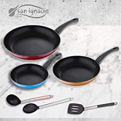 Chollo - Juego 3 Sartenes San Ignacio Monza (20/24/28 cm) + 3 utensilios de cocina