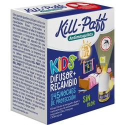 Chollo - Kill-Paff Kids insecticida antimosquitos eléctrico Difusor + Recambio 45 noches