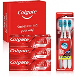 Chollo - Kit Blanqueante Colgate: 3x Pasta de dientes Max White Luminous (3x75ml) + 3x Cepillo blanqueador Max White One 360