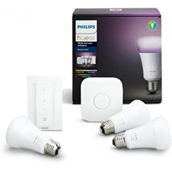 Chollo - Kit de Inicio Philips Hue White and Color Ambiance con 3 bombillas 10W E27 + Puente + Mando