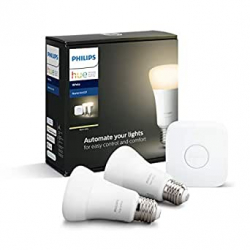 Chollo - Kit de Inicio Philips Hue White con 2 bombillas 9W E27 + Puente