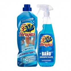 Chollo - LAS TRES BRUJAS Limpiazul Limpiahogar 1 litro + Limpiador baño antical desinfectante spray 750 ml