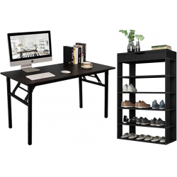 Mesa plegable de escritorio + Zapatero de 5 baldas