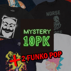 Chollo - Pack 10 Camisetas Frikis Misteriosas + 2 Funko Pop
