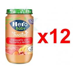 Chollo - Pack 12 Tarritos Hero Baby Espaguetis Ternera y Jamón (12x235g)