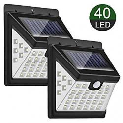 Pack 2 Focos LED Solares Priksia P-02 con Sensor PIR (2x40LED)