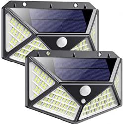 Chollo - Pack 2 Focos solares QTshine con sensor de movimiento 162LED 2200mAh