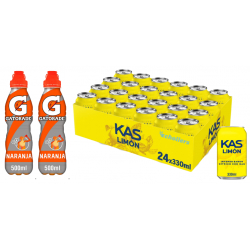 Chollo - Pack 24 Latas de Kas Limón 33cl + 2 botellas de Gatorade Naranja 50cl