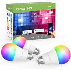 Chollo - Pack 3 Bombillas Inteligentes E27 Novostella 7W RGB