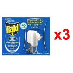 Chollo - Pack 3x Raid Difusor Eléctrico Anti Mosquitos 45 Noches + Recambio