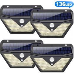 Chollo - Pack 4 Focos Solares Trswyop con Sensor de Movimiento (4x136LED)