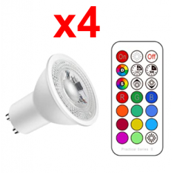 Chollo - Pack 4x Focos de techo LED Spotlight Lengjoy Tofisr RGB 5W GU10