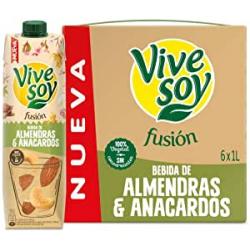 Chollo - Pack 6x Bebida de almendras y anacardos Vivesoy Fusión 1L