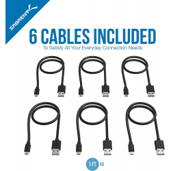 Chollo - Pack 6 Cables Micro USB a USB Sabrent (6x30cm)