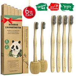 Pack 6 Cepillos Dientes de Bambú + 2 Portacepillos