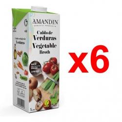 Chollo - Pack 6x Caldo de verduras ecológico Amandin (6x1L)
