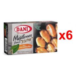 Chollo - Pack 6 Latas Mejillones chilenos Dani 13/18 en escabeche (6x106g)